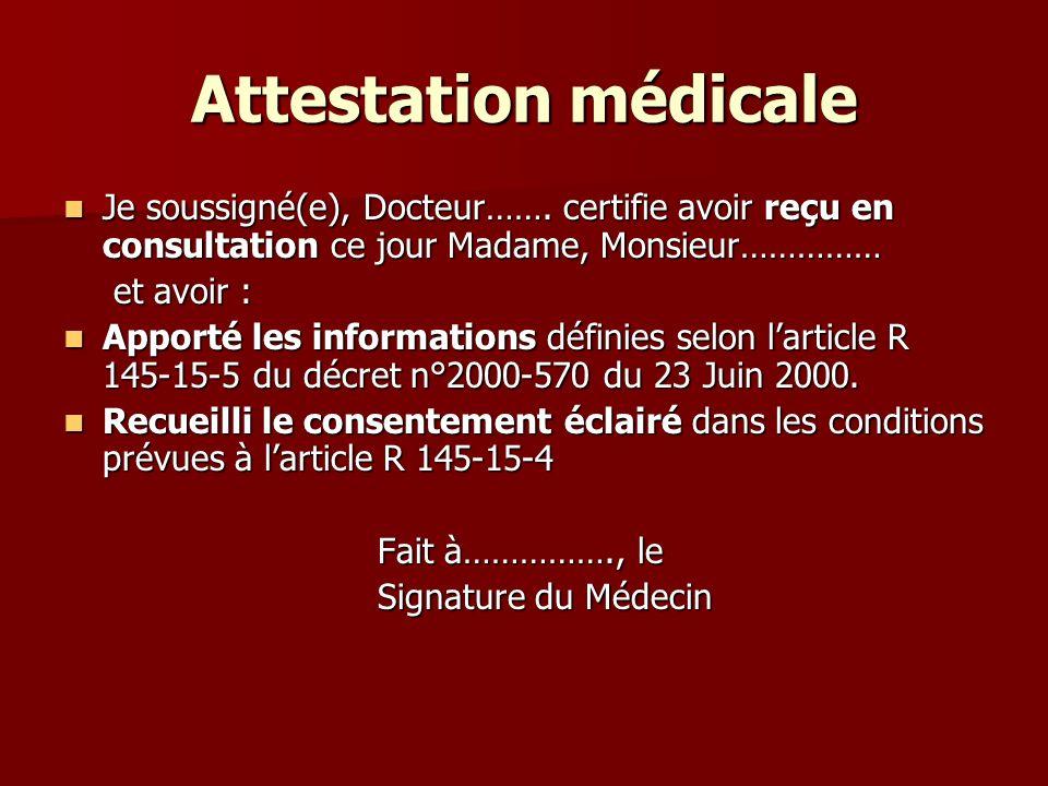 Consentement du patient Obligatoire Obligatoire Ecrit Ecrit Devoir de mentionner la finalité de lexamen, sa révocabilité à tout moment.