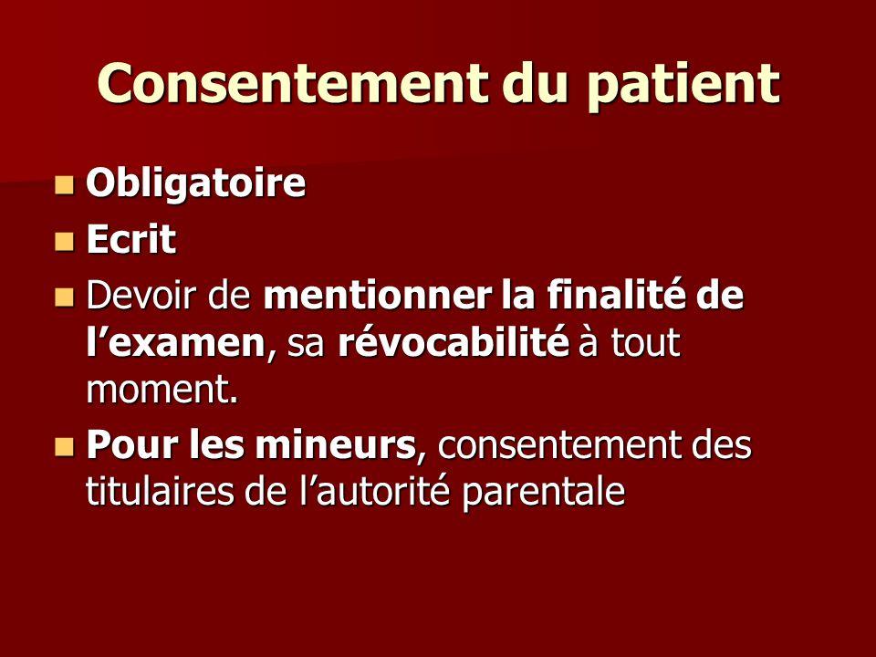 Consentement du patient Art.226-25.