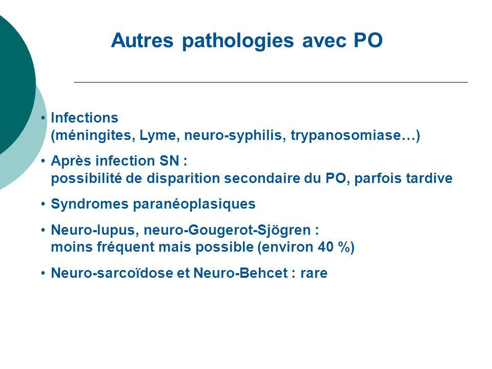 Autres pathologies avec PO Infections (méningites, Lyme, neuro-syphilis, trypanosomiase…) Après infection SN : possibilité de disparition secondaire d