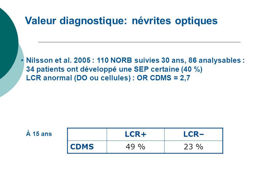 Valeur diagnostique: névrites optiques Nilsson et al. 2005 : 110 NORB suivies 30 ans, 86 analysables : 34 patients ont développé une SEP certaine (40