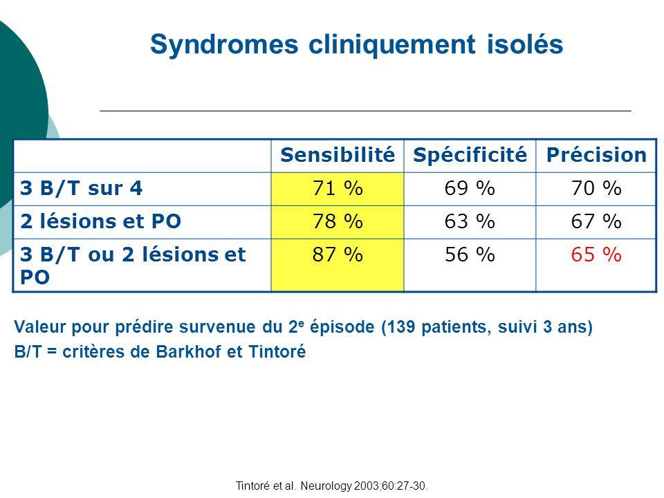 Syndromes cliniquement isolés Tintoré et al. Neurology 2003;60:27-30. Valeur pour prédire survenue du 2 e épisode (139 patients, suivi 3 ans) Sensibil