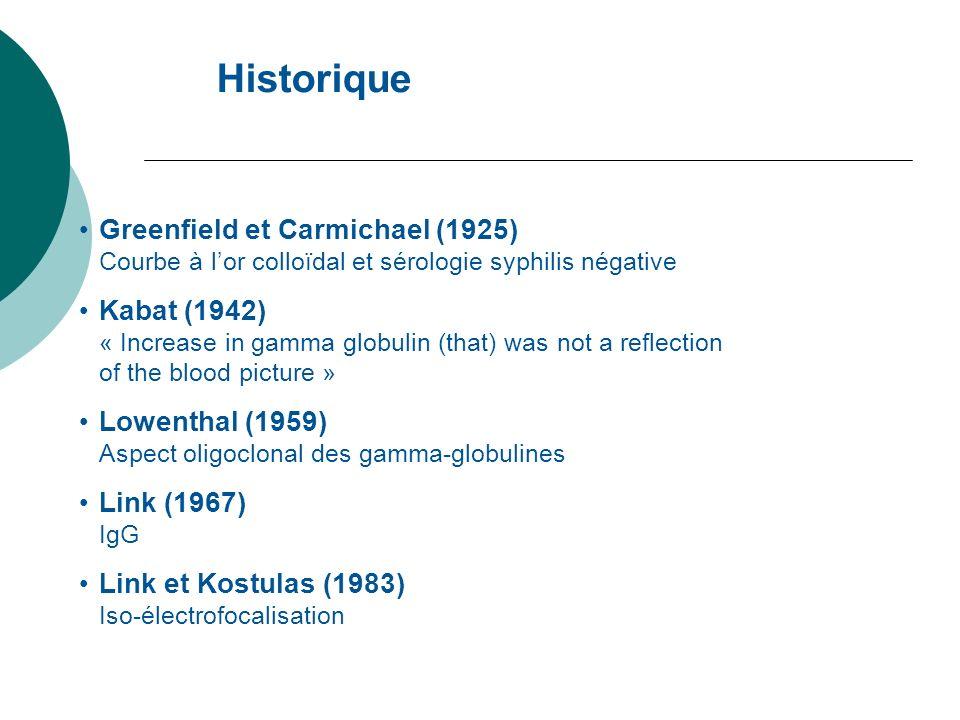 Historique Greenfield et Carmichael (1925) Courbe à lor colloïdal et sérologie syphilis négative Kabat (1942) « Increase in gamma globulin (that) was