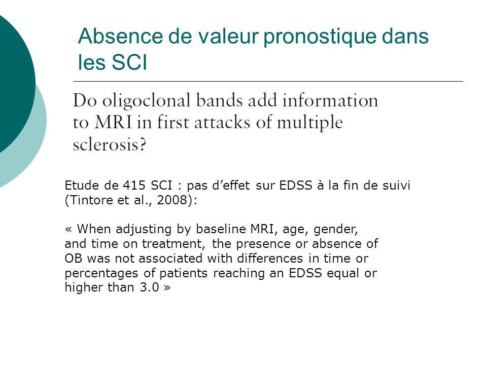 Absence de valeur pronostique dans les SCI Etude de 415 SCI : pas deffet sur EDSS à la fin de suivi (Tintore et al., 2008): « When adjusting by baseli