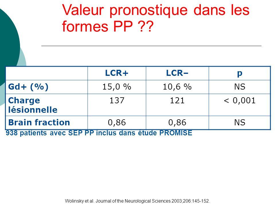 Valeur pronostique dans les formes PP ?? Wolinsky et al. Journal of the Neurological Sciences 2003;206:145-152. LCR+LCR–p Gd+ (%)15,0 %10,6 %NS Charge