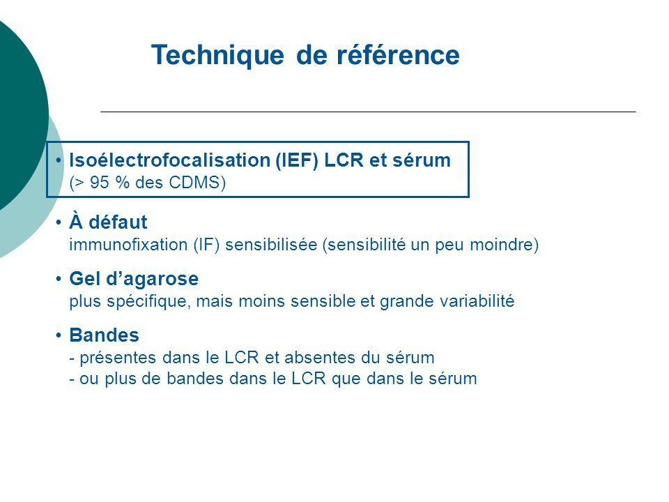 Technique de référence Isoélectrofocalisation (IEF) LCR et sérum (> 95 % des CDMS) À défaut immunofixation (IF) sensibilisée (sensibilité un peu moind
