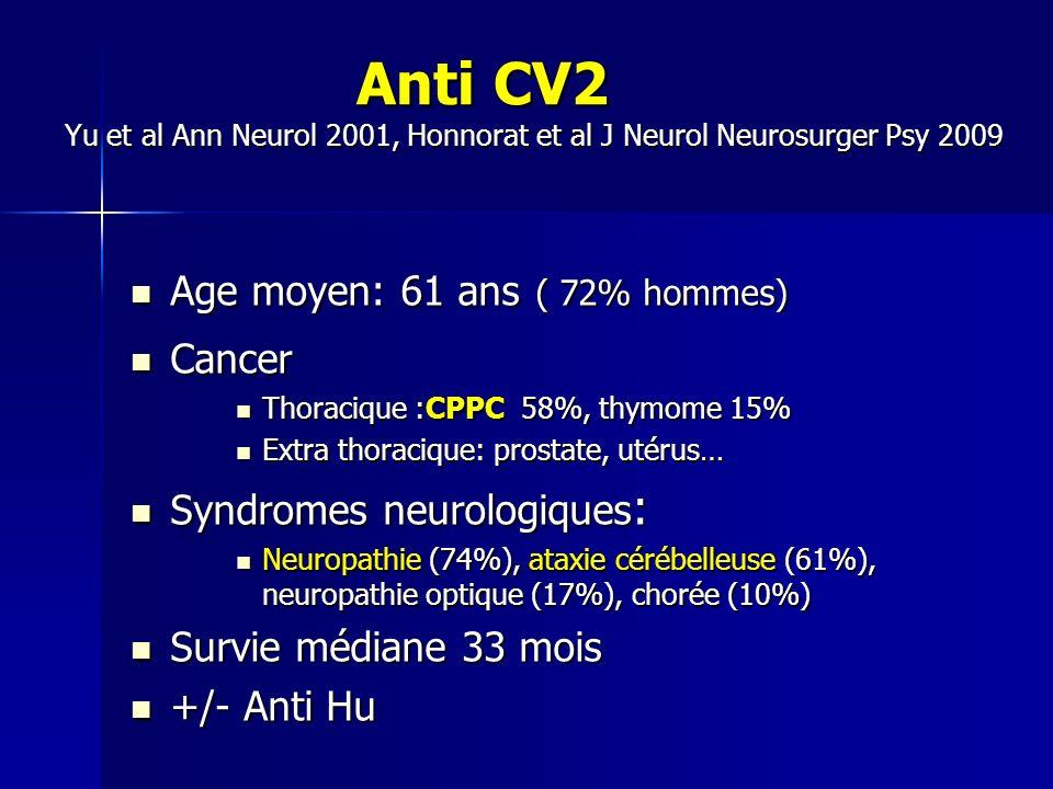 Anti CV2 Yu et al Ann Neurol 2001, Honnorat et al J Neurol Neurosurger Psy 2009 Anti CV2 Yu et al Ann Neurol 2001, Honnorat et al J Neurol Neurosurger