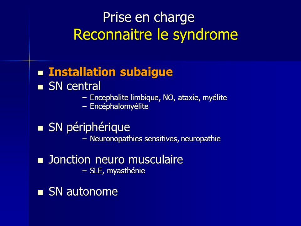 Prise en charge Reconnaitre le syndrome Prise en charge Reconnaitre le syndrome Installation subaigue Installation subaigue SN central SN central –Enc