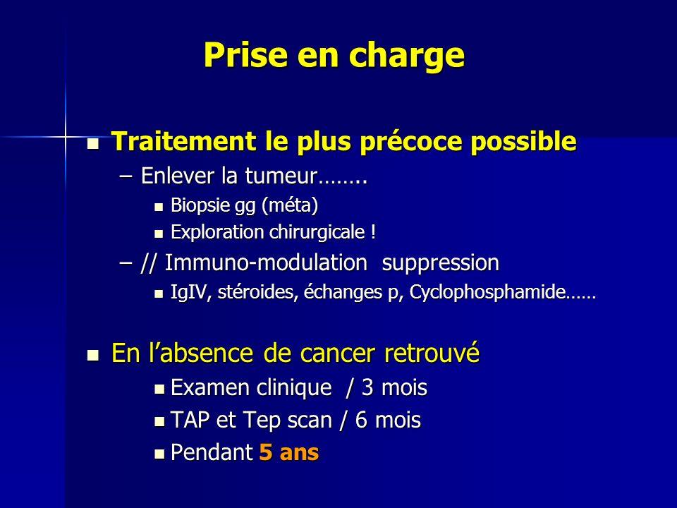 Prise en charge Prise en charge Traitement le plus précoce possible Traitement le plus précoce possible –Enlever la tumeur…….. Biopsie gg (méta) Biops