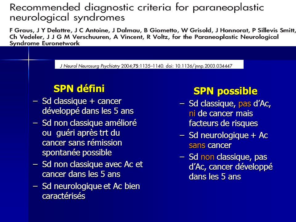 SPN défini SPN défini –Sd classique + cancer développé dans les 5 ans –Sd non classique amélioré ou guéri après trt du cancer sans rémission spontanée