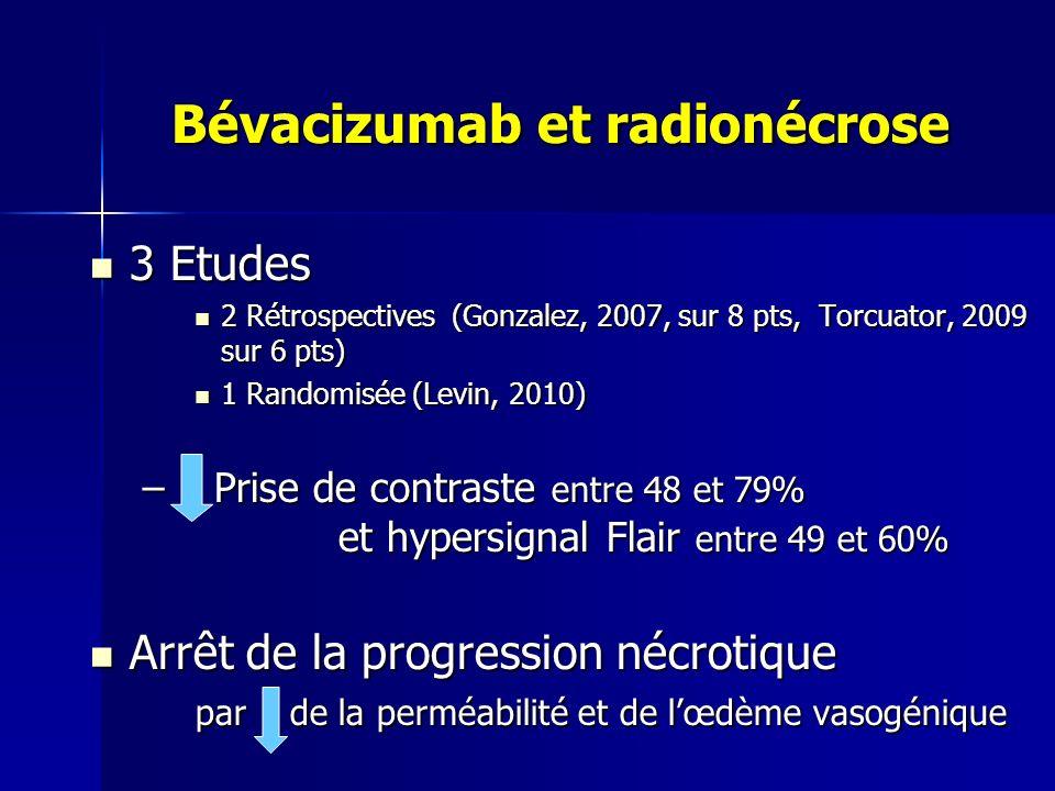 Bévacizumab et radionécrose Bévacizumab et radionécrose 3 Etudes 3 Etudes 2 Rétrospectives (Gonzalez, 2007, sur 8 pts, Torcuator, 2009 sur 6 pts) 2 Ré