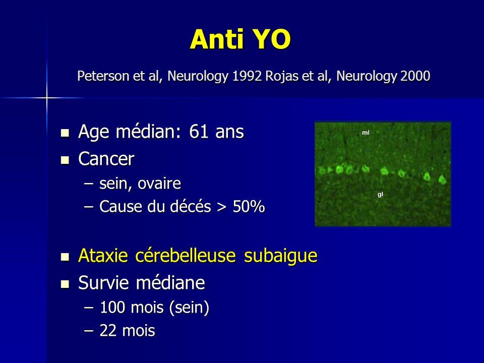 Anti YO Peterson et al, Neurology 1992 Rojas et al, Neurology 2000 Anti YO Peterson et al, Neurology 1992 Rojas et al, Neurology 2000 Age médian: 61 a