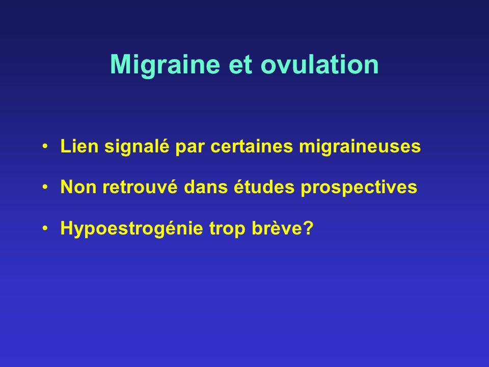 Migraine et ovulation Lien signalé par certaines migraineuses Non retrouvé dans études prospectives Hypoestrogénie trop brève?