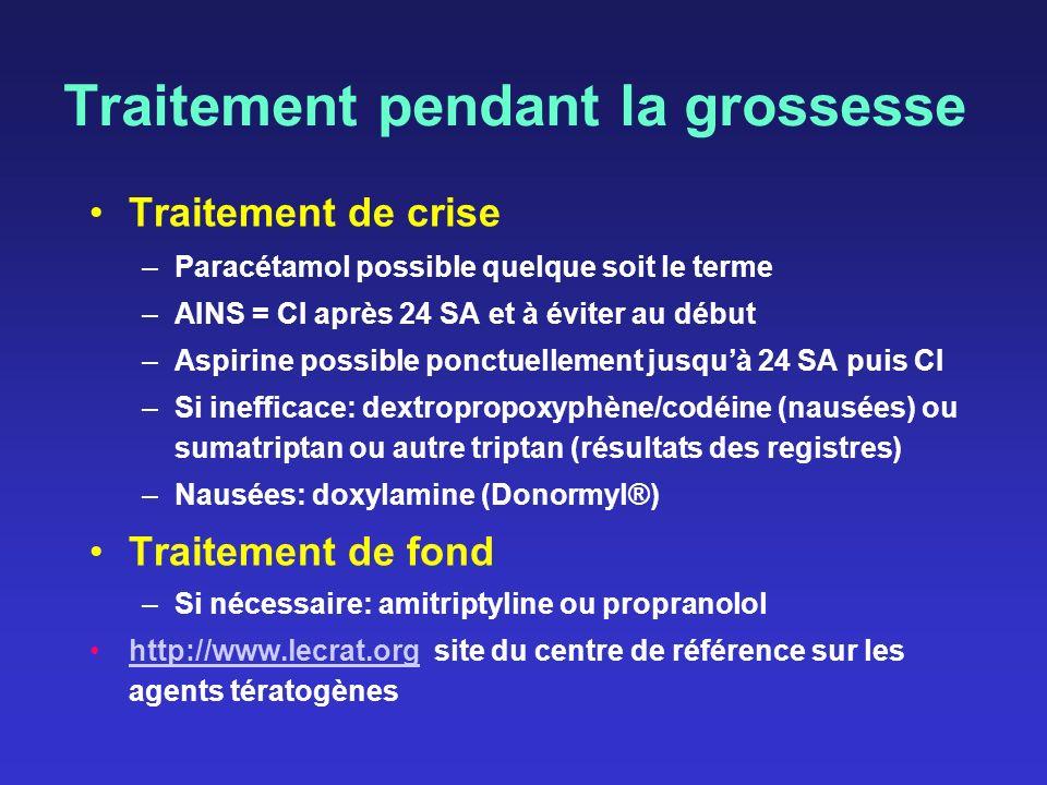 Traitement pendant la grossesse Traitement de crise –Paracétamol possible quelque soit le terme –AINS = CI après 24 SA et à éviter au début –Aspirine