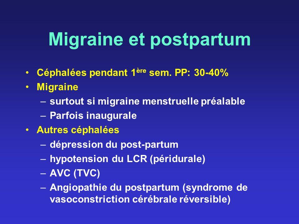 Migraine et postpartum Céphalées pendant 1 ère sem. PP: 30-40% Migraine –surtout si migraine menstruelle préalable –Parfois inaugurale Autres céphalée