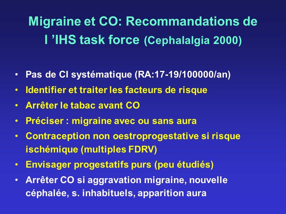 Migraine et CO: Recommandations de l IHS task force (Cephalalgia 2000) Pas de CI systématique (RA:17-19/100000/an) Identifier et traiter les facteurs