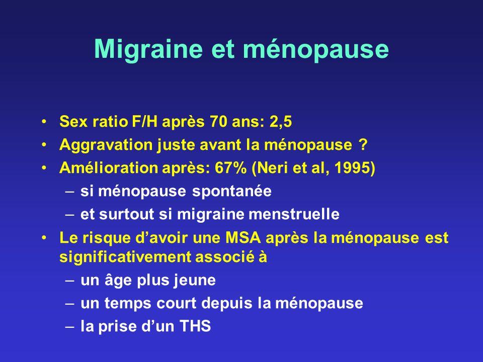 Migraine et ménopause Sex ratio F/H après 70 ans: 2,5 Aggravation juste avant la ménopause ? Amélioration après: 67% (Neri et al, 1995) –si ménopause