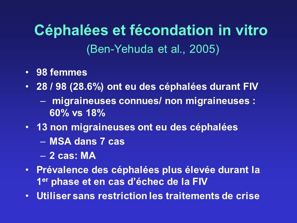 Céphalées et fécondation in vitro (Ben-Yehuda et al., 2005) 98 femmes 28 / 98 (28.6%) ont eu des céphalées durant FIV – migraineuses connues/ non migr