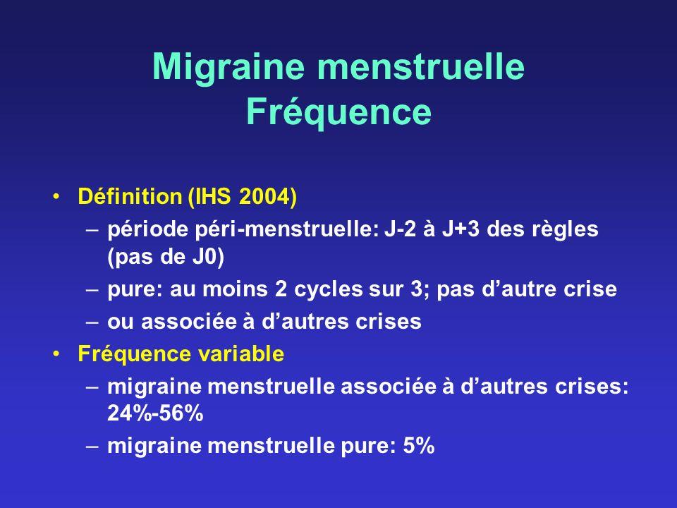 Migraine menstruelle Fréquence Définition (IHS 2004) –période péri-menstruelle: J-2 à J+3 des règles (pas de J0) –pure: au moins 2 cycles sur 3; pas d