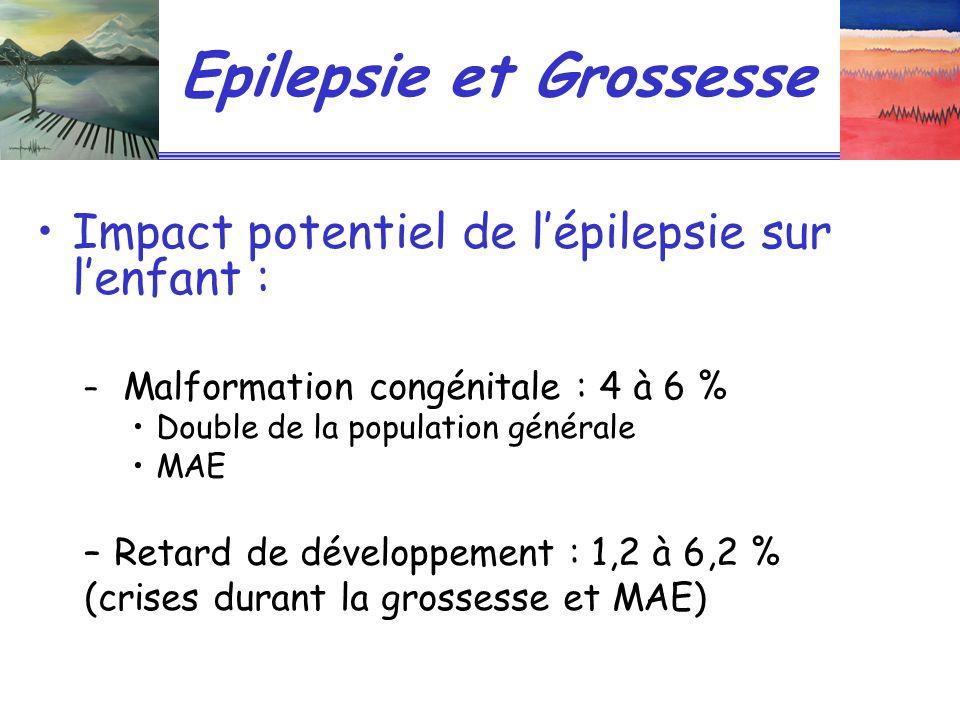 Epilepsie et Grossesse Impact potentiel de lépilepsie sur lenfant : – Malformation congénitale : 4 à 6 % Double de la population générale MAE –Retard de développement : 1,2 à 6,2 % (crises durant la grossesse et MAE)
