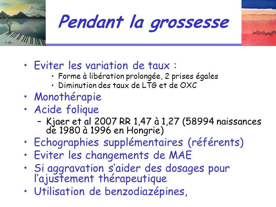 Pendant la grossesse Eviter les variation de taux : Forme à libération prolongée, 2 prises égales Diminution des taux de LTG et de OXC Monothérapie Acide folique –Kjaer et al 2007 RR 1,47 à 1,27 (58994 naissances de 1980 à 1996 en Hongrie) Echographies supplémentaires (référents) Eviter les changements de MAE Si aggravation saider des dosages pour lajustement thérapeutique Utilisation de benzodiazépines,