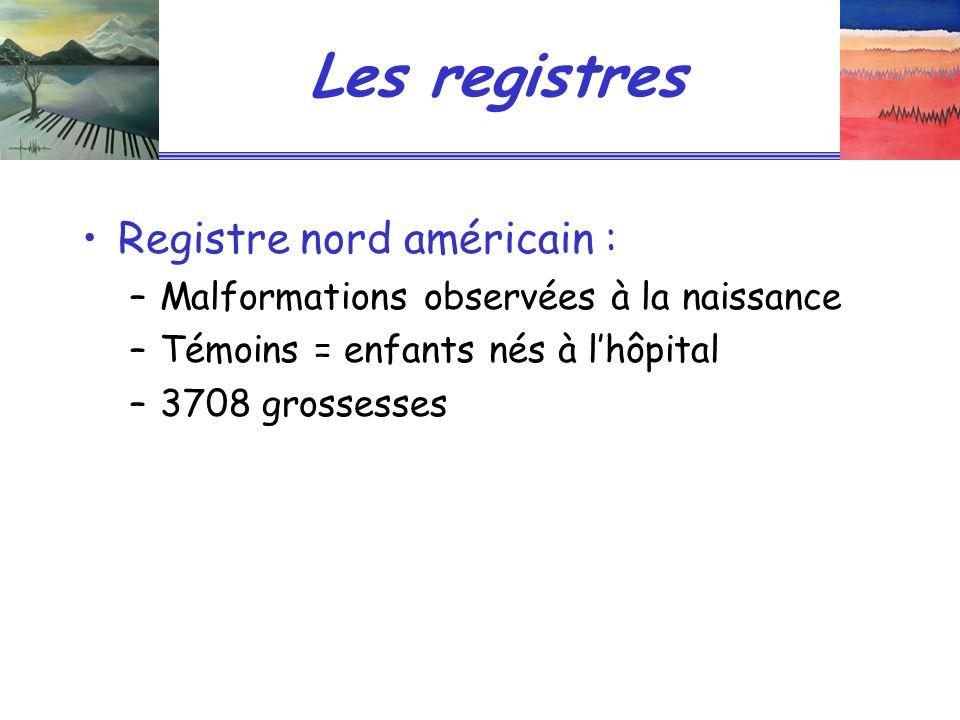 Les registres Registre nord américain : –Malformations observées à la naissance –Témoins = enfants nés à lhôpital –3708 grossesses