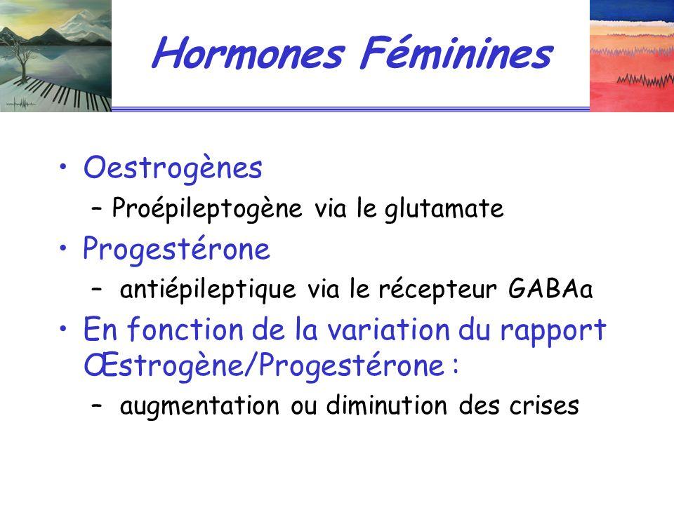 Hormones Féminines Oestrogènes –Proépileptogène via le glutamate Progestérone – antiépileptique via le récepteur GABAa En fonction de la variation du rapport Œstrogène/Progestérone : – augmentation ou diminution des crises