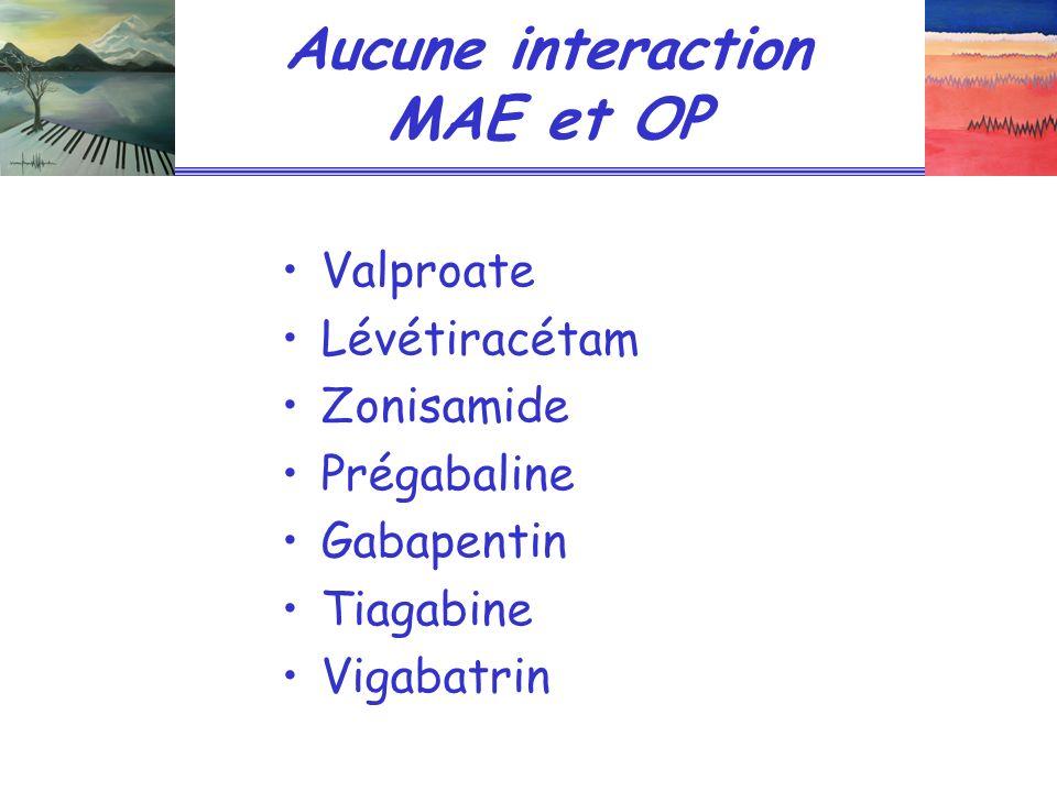 Aucune interaction MAE et OP Valproate Lévétiracétam Zonisamide Prégabaline Gabapentin Tiagabine Vigabatrin