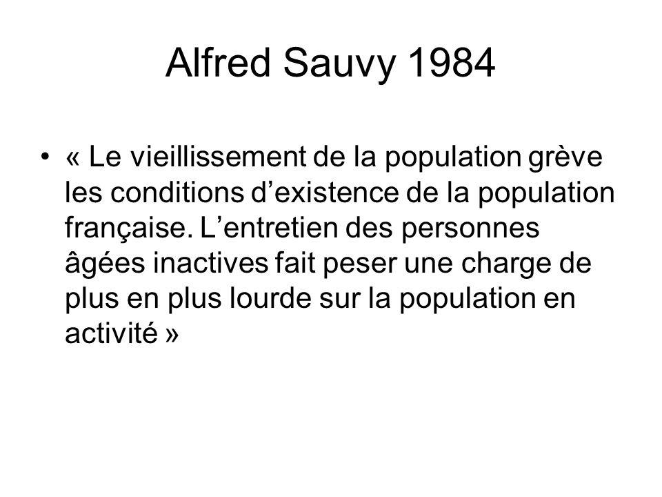 Alfred Sauvy 1984 « Le vieillissement de la population grève les conditions dexistence de la population française. Lentretien des personnes âgées inac