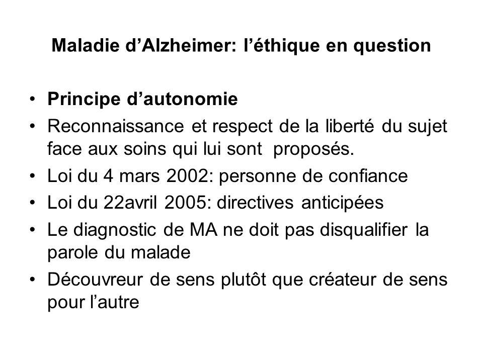 Maladie dAlzheimer: léthique en question Principe dautonomie Reconnaissance et respect de la liberté du sujet face aux soins qui lui sont proposés. Lo