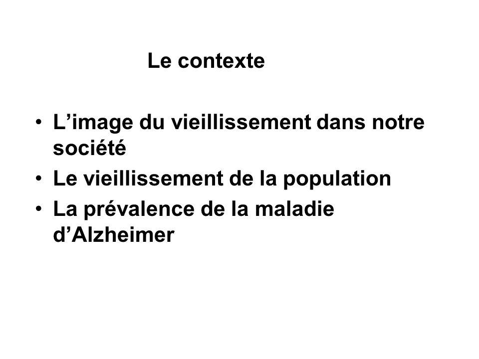 Le contexte Limage du vieillissement dans notre société Le vieillissement de la population La prévalence de la maladie dAlzheimer