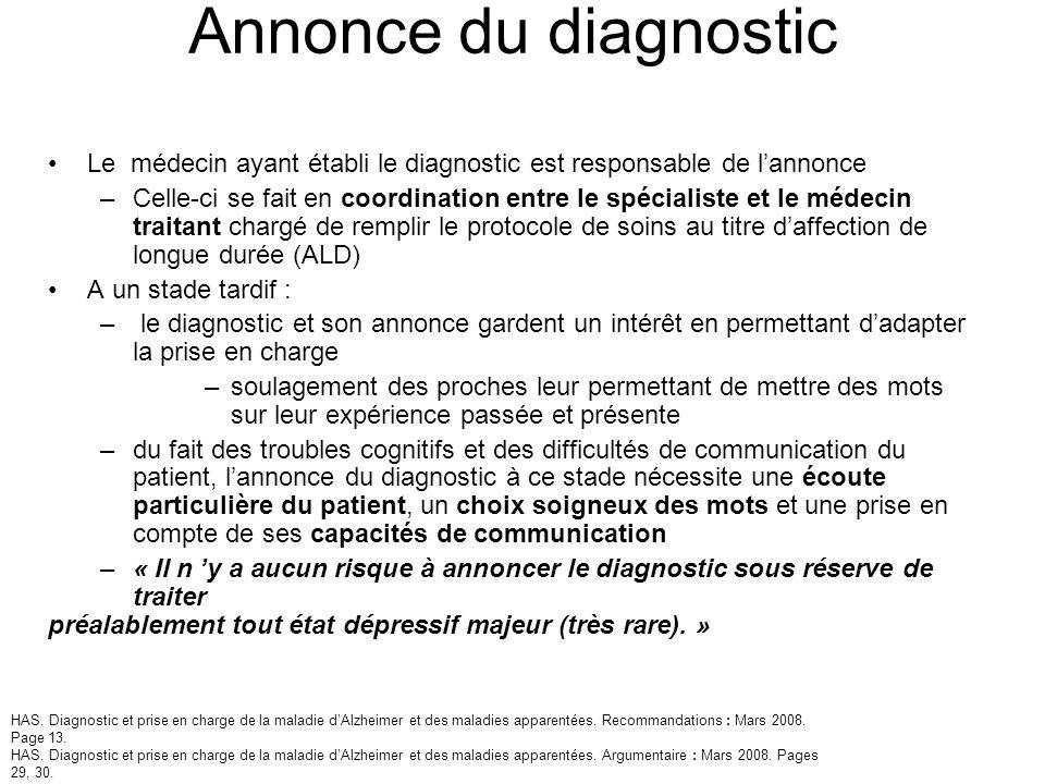 Annonce du diagnostic Le médecin ayant établi le diagnostic est responsable de lannonce –Celle-ci se fait en coordination entre le spécialiste et le m