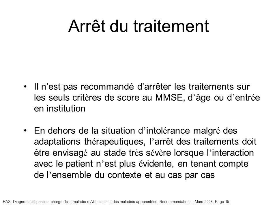 Il nest pas recommandé darrêter les traitements sur les seuls crit è res de score au MMSE, d âge ou d entr é e en institution En dehors de la situatio