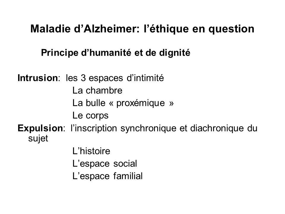 Maladie dAlzheimer: léthique en question Principe dhumanité et de dignité Intrusion: les 3 espaces dintimité La chambre La bulle « proxémique » Le cor