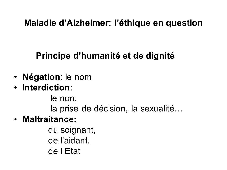 Maladie dAlzheimer: léthique en question Principe dhumanité et de dignité Négation: le nom Interdiction: le non, la prise de décision, la sexualité… M