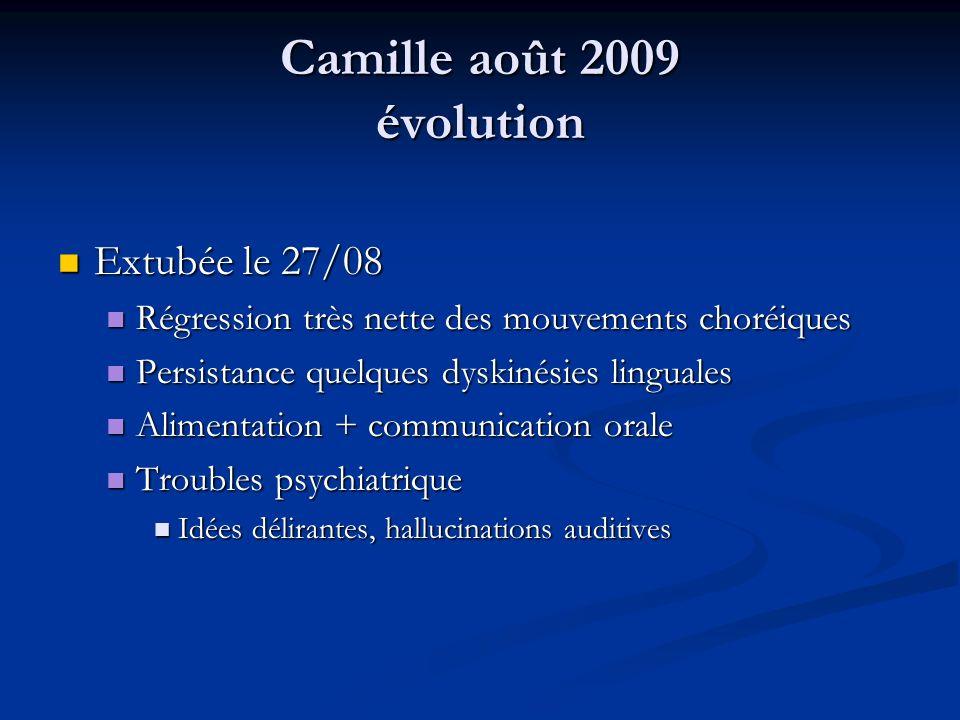Camille août 2009 évolution Extubée le 27/08 Extubée le 27/08 Régression très nette des mouvements choréiques Régression très nette des mouvements cho