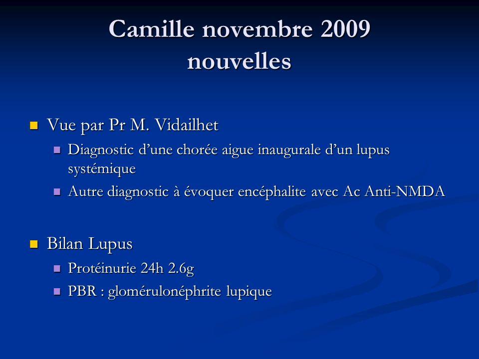 Camille novembre 2009 nouvelles Vue par Pr M. Vidailhet Vue par Pr M. Vidailhet Diagnostic dune chorée aigue inaugurale dun lupus systémique Diagnosti