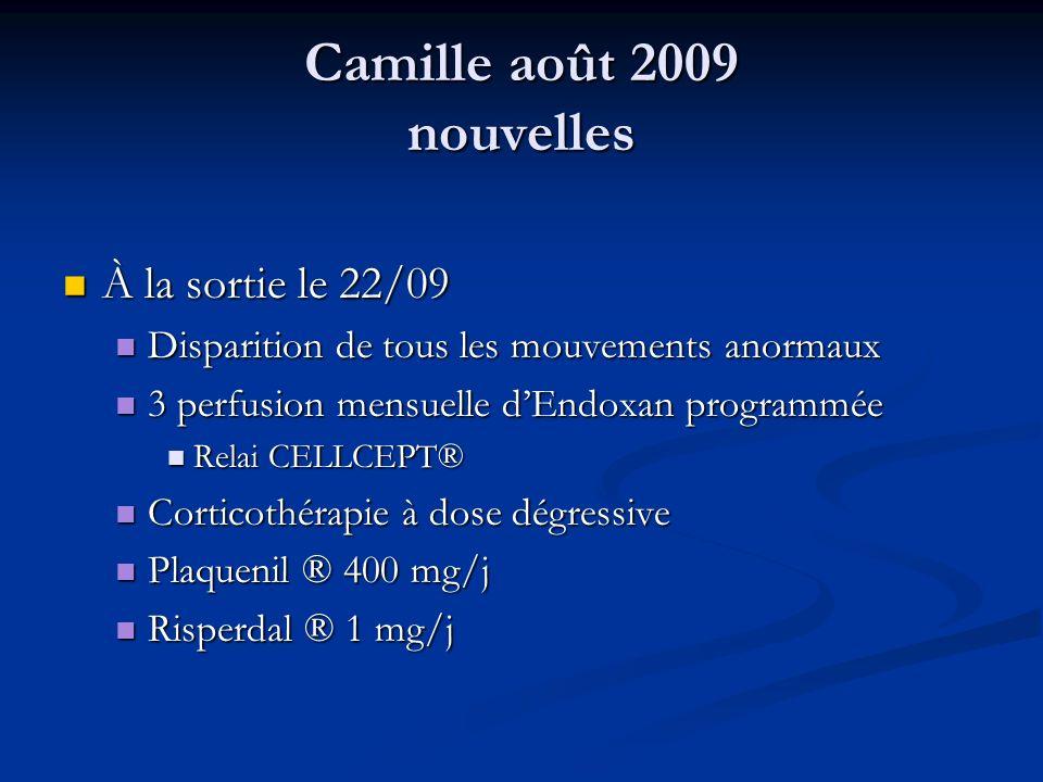 Camille août 2009 nouvelles À la sortie le 22/09 À la sortie le 22/09 Disparition de tous les mouvements anormaux Disparition de tous les mouvements a