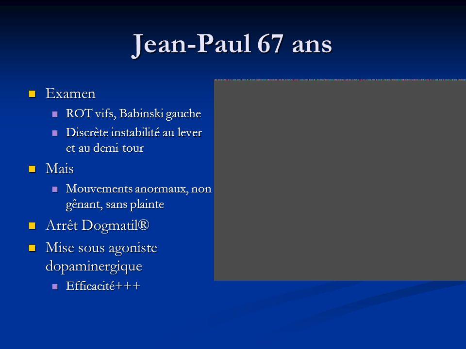 Jean-Paul 67 ans Examen Examen ROT vifs, Babinski gauche ROT vifs, Babinski gauche Discrète instabilité au lever et au demi-tour Discrète instabilité
