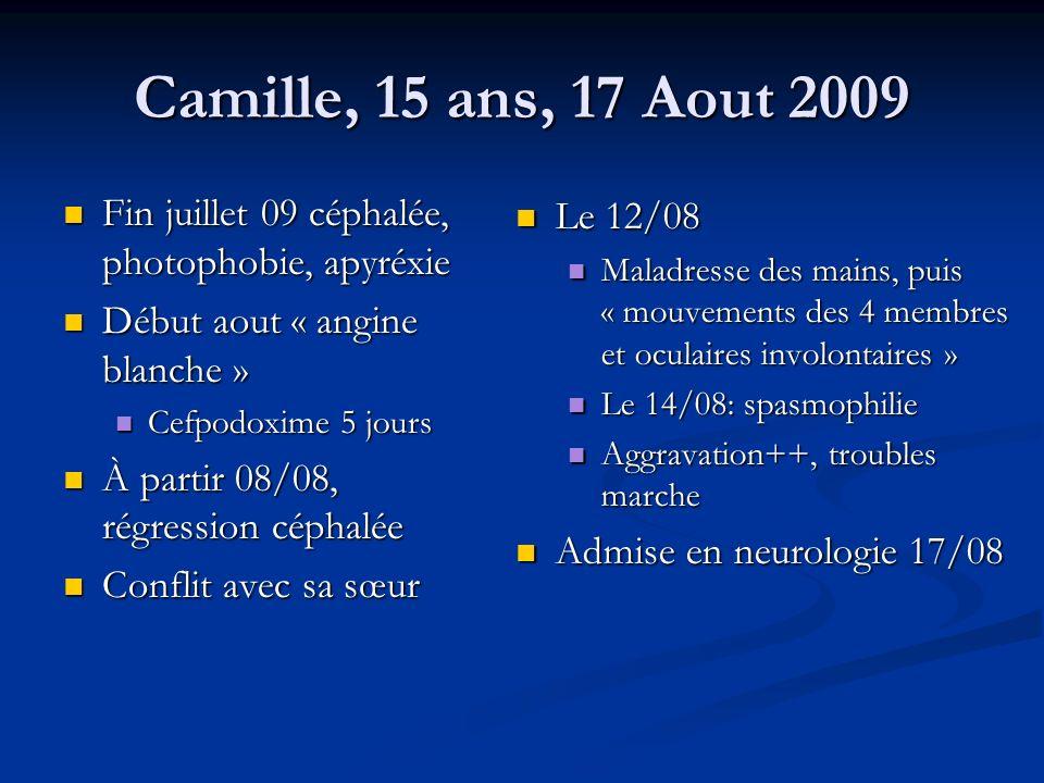 Camille, 15 ans, 17 Aout 2009 Fin juillet 09 céphalée, photophobie, apyréxie Fin juillet 09 céphalée, photophobie, apyréxie Début aout « angine blanch