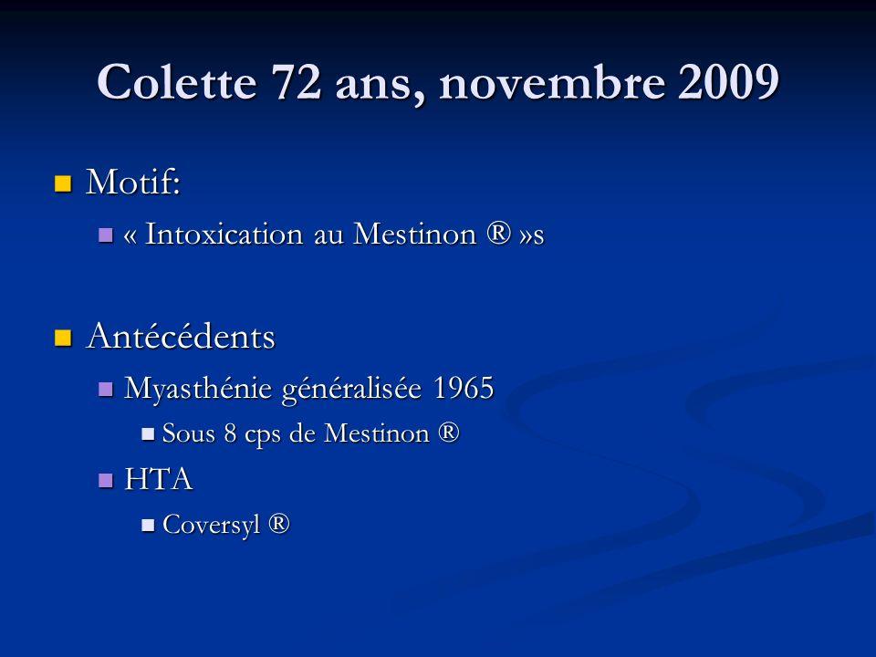 Colette 72 ans, novembre 2009 Motif: Motif: « Intoxication au Mestinon ® »s « Intoxication au Mestinon ® »s Antécédents Antécédents Myasthénie général