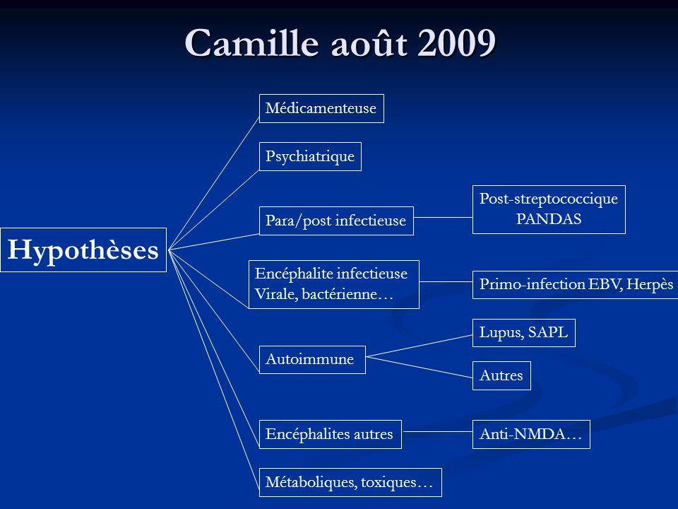 Camille août 2009 Hypothèses Para/post infectieuse Post-streptococcique PANDAS Primo-infection EBV, Herpès Psychiatrique Encéphalite infectieuse Viral