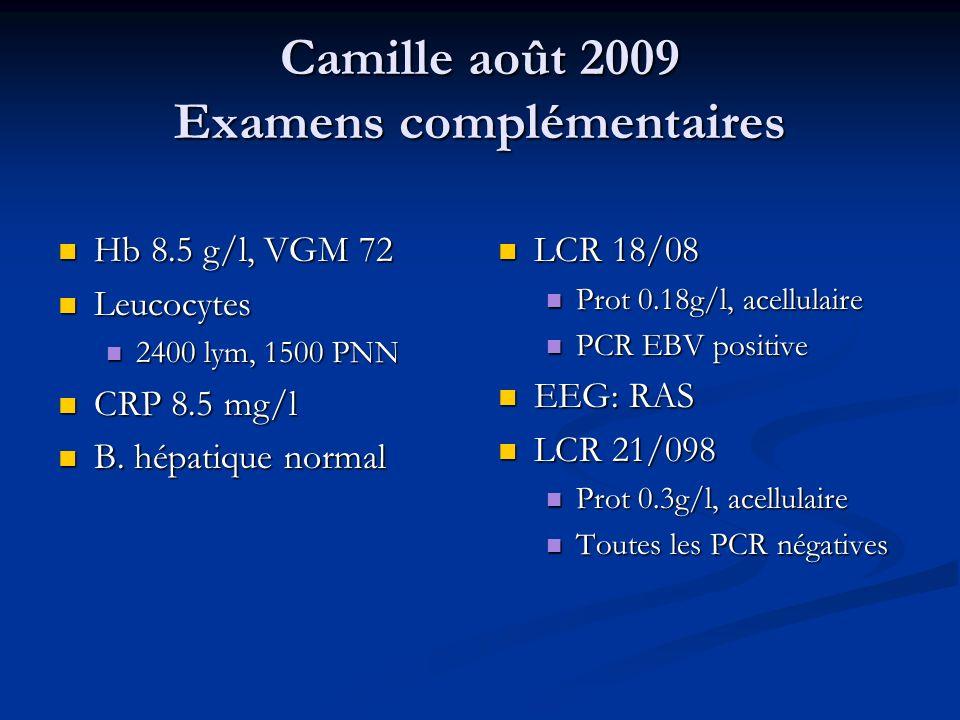 Camille août 2009 Examens complémentaires Hb 8.5 g/l, VGM 72 Hb 8.5 g/l, VGM 72 Leucocytes Leucocytes 2400 lym, 1500 PNN 2400 lym, 1500 PNN CRP 8.5 mg