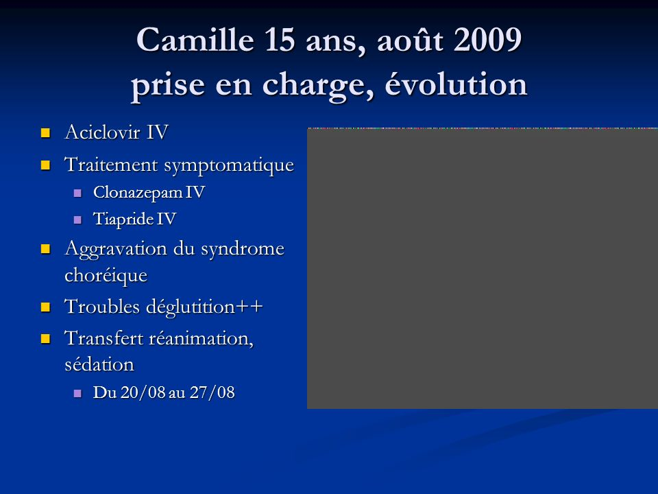 Camille 15 ans, août 2009 prise en charge, évolution Aciclovir IV Aciclovir IV Traitement symptomatique Traitement symptomatique Clonazepam IV Clonaze