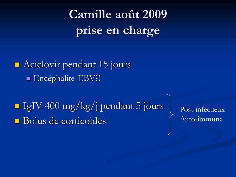 Camille août 2009 prise en charge Aciclovir pendant 15 jours Aciclovir pendant 15 jours Encéphalite EBV?! Encéphalite EBV?! IgIV 400 mg/kg/j pendant 5