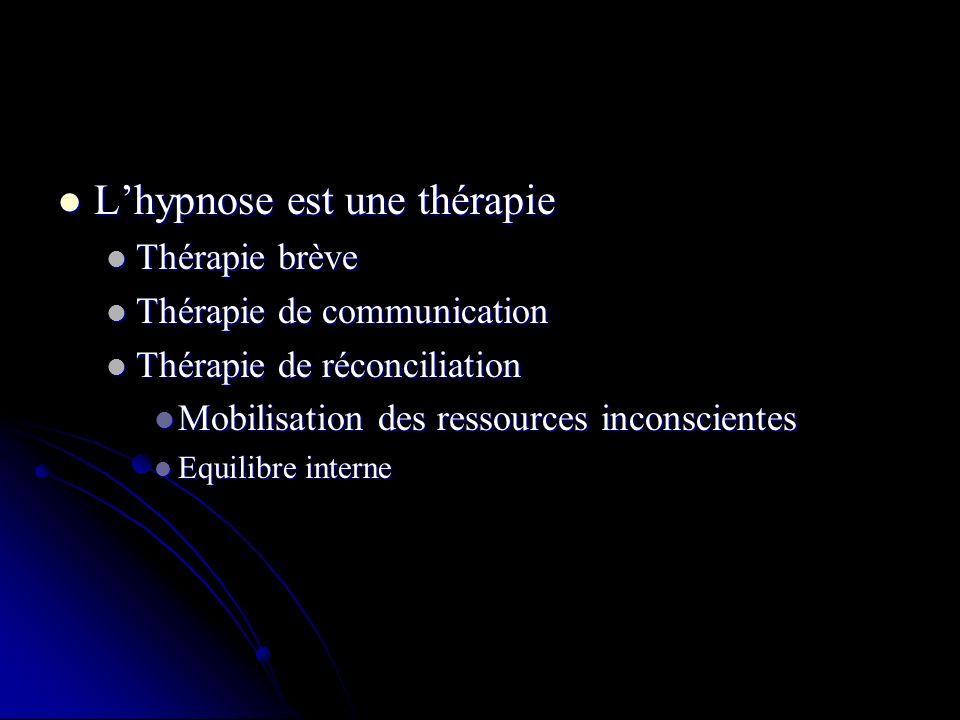 Lhypnose est une thérapie Lhypnose est une thérapie Thérapie brève Thérapie brève Thérapie de communication Thérapie de communication Thérapie de réconciliation Thérapie de réconciliation Mobilisation des ressources inconscientes Mobilisation des ressources inconscientes Equilibre interne Equilibre interne