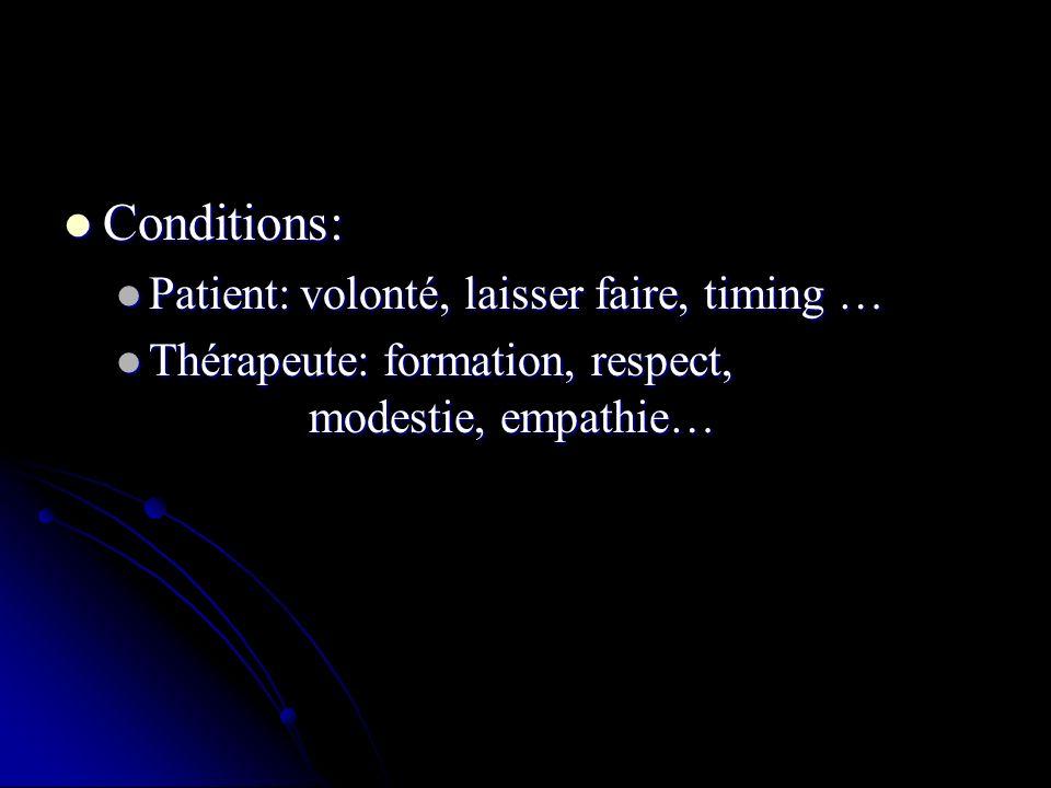 Conditions: Conditions: Patient: volonté, laisser faire, timing … Patient: volonté, laisser faire, timing … Thérapeute: formation, respect, modestie, empathie… Thérapeute: formation, respect, modestie, empathie…
