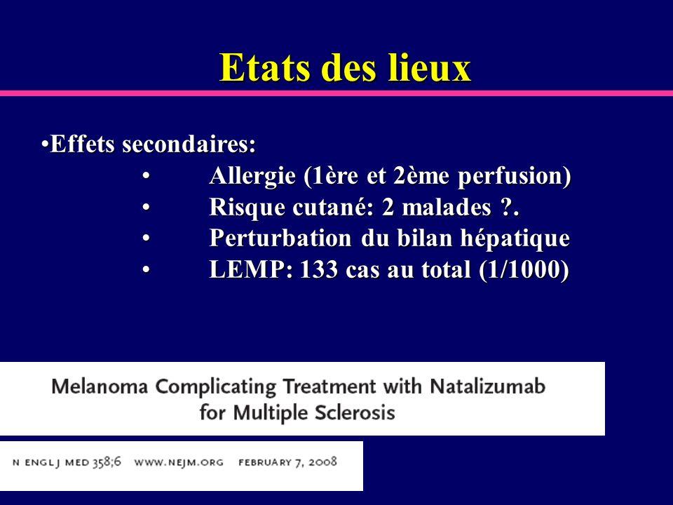 Etats des lieux Effets secondaires:Effets secondaires: Allergie (1ère et 2ème perfusion) Allergie (1ère et 2ème perfusion) Risque cutané: 2 malades ?.