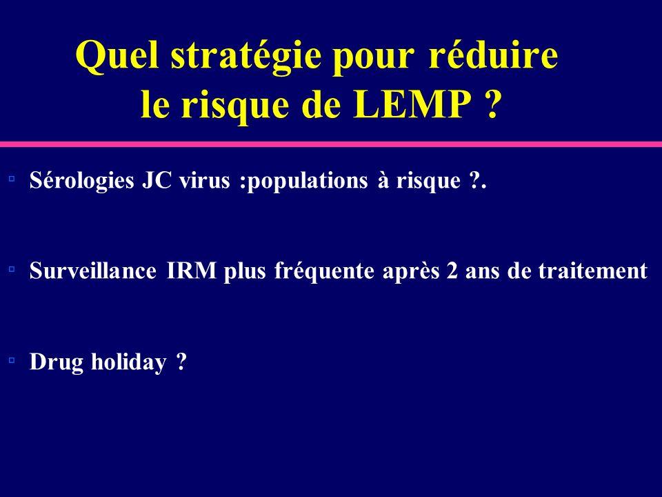 Quel stratégie pour réduire le risque de LEMP ? Sérologies JC virus :populations à risque ?. Surveillance IRM plus fréquente après 2 ans de traitement