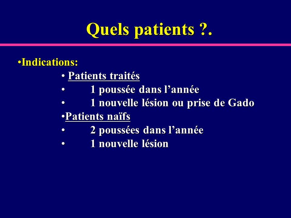 Quels patients ?. Indications:Indications: Patients traités Patients traités 1 poussée dans lannée1 poussée dans lannée 1 nouvelle lésion ou prise de