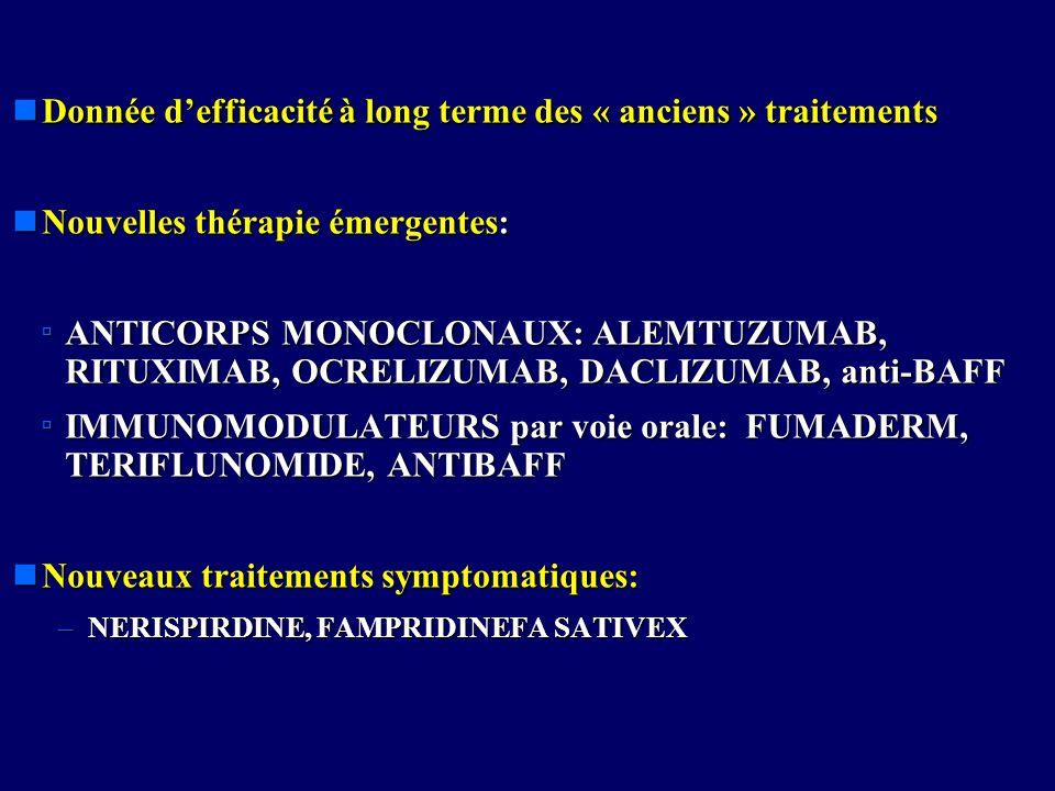 nDonnée defficacité à long terme des « anciens » traitements nNouvelles thérapie émergentes: ANTICORPS MONOCLONAUX: ALEMTUZUMAB, RITUXIMAB, OCRELIZUMA